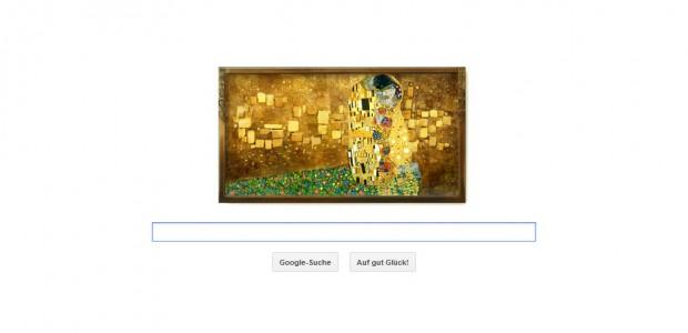 """Die Suchmaschine Google ehrt den Maler Gustav Klimt am heutigen Tage mit einem """"Kuss""""-Doodle: Am 14. Juli 2012 wäre der gebürtige Wiener 150 Jahre alt geworden."""