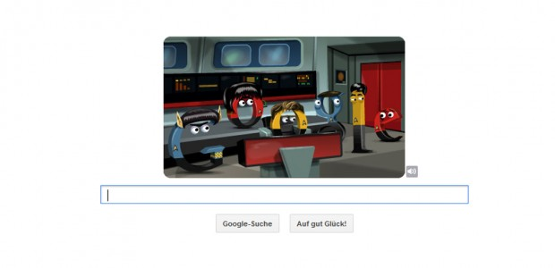 """Ein neuer Google Doodle zu Ehren der """"Star Trek original series"""" dürfte nicht nur Trekkies begeistern: Es gilt, eine Mission mit der Google-Crew zu bewältigen."""