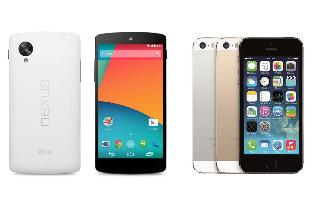google-lg-nexus-5-apple-iphone-5s