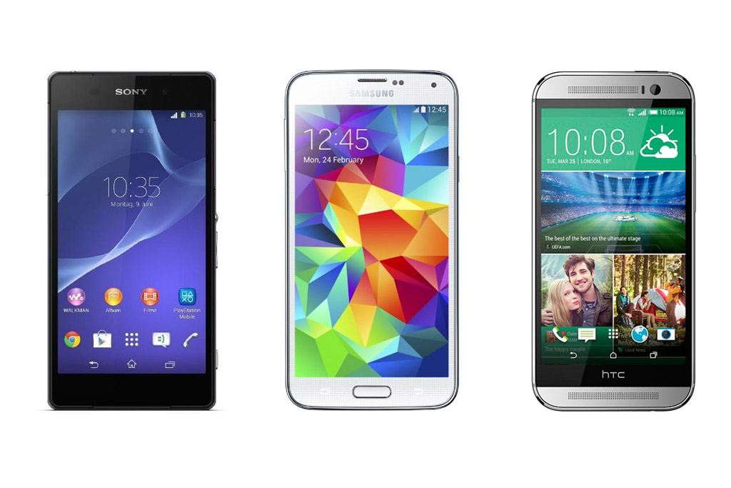 sony-xperia-z2-samsung-galaxy-s5-htc-one-m8-front-hersteller